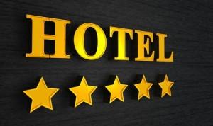 5 Sterne Hotel Schild - Gold auf Schwarz